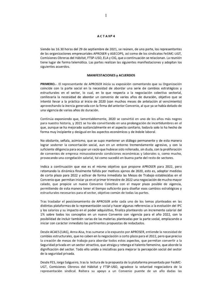 Negociación convenio 2022 seguridad privada Acta 4.1